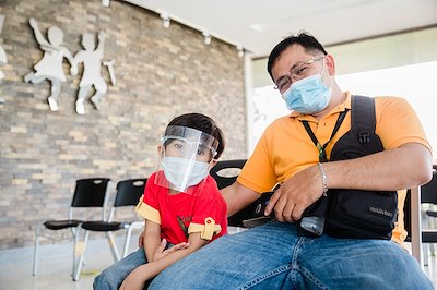 """One of our field workers, Marvin, brought his """"mini-me"""" with him during clinic."""